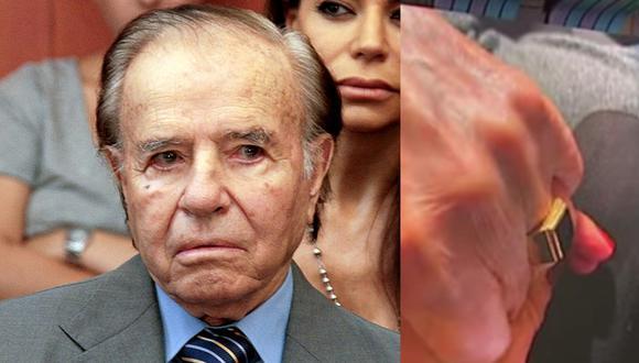 """Carlos Menem, que era senador desde 2005 y arrastraba fuertes achaques de salud desde hace tiempo, guardaba mucho cariño al anillo, porque se lo había regalado su padre respetando una tradición familiar árabe. (AFP / Captura de video """"TN"""")."""