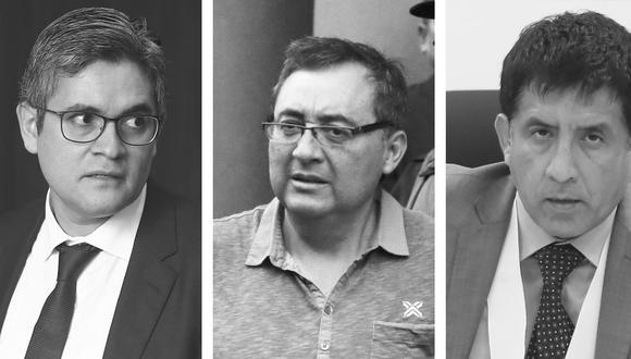 El fiscal José Domingo Pérez, el exfuncionario del MTC, hoy acusado, Jorge Cuba, y el juez Richard Concepción Carhuancho, a cargo del control de acusación.