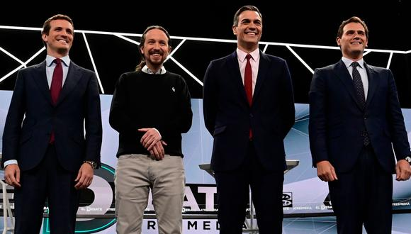 De Izquierda a derecha: Pablo Casado (Partido Popular), Pablo Iglesias (Podemos), Pedro Sánchez (PSOE) y Albert Rivera (Ciudadanos), candidatos para gobernar España.(AFP / JAVIER SORIANO).