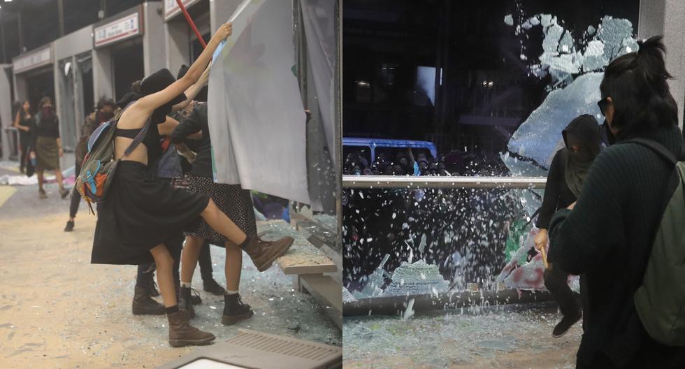 Manifestantes que participaron en una protesta en contra de abusos sexuales por parte de cuerpos policiales causaron destrozos en algunos edificios públicos de la capital de México. (EFE / AP).