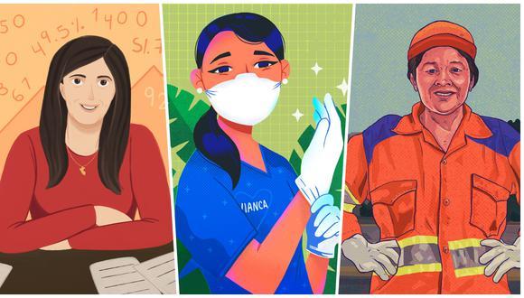 """Día de la mujer. De izquierda a derecha, María Antonieta Alva (economista), Vianca Yalta (enfermera) e Isabel Cortez (trabajadora de limpieza pública); a las cuales se les dedican textos en el libro """"Las heroínas de la pandemia"""", de descarga gratuita. Foto: Ilustraciones: Mancha Brava."""