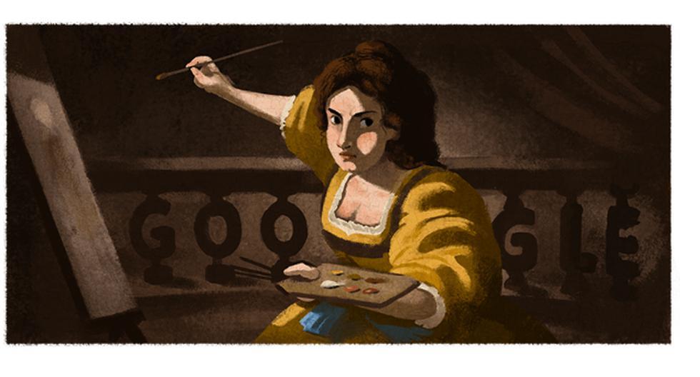 Google recuerda con un doodle el 427° aniversario del nacimiento de Artemisia Gentileschi. (Captura / Google).