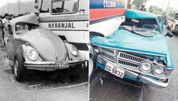 El transporte en Lima no ha cambiado en 60 años. La foto de la izquierda, de 1982, muestra un auto que aún está en circulación según Sunarp, y que comprueba que el parque automotor de Lima también es el mismo.