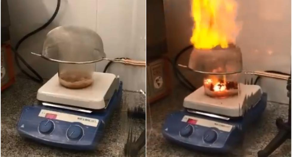 FOTO 1 DE 3 | Se viralizó en las redes sociales el experimento realizado por un doctor en química que demostró a través de un breve video cómo es que se produjo la explosión de Beirut, capital de Líbano. | Foto: @leopoldosuescun / Twitter (Desliza a la izquierda para ver más fotos)