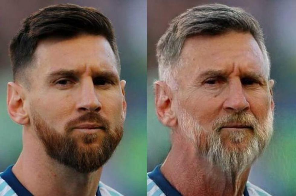 Así se vería Lionel Messi si fuera viejo.   FaceApp