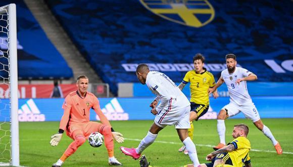 A los 41 minutos de juego, el delantero francés abrió el marcador tras gran jugada individual ante la defensa sueca por la primera jornada de la Liga A. (Foto: Twitter Francia)
