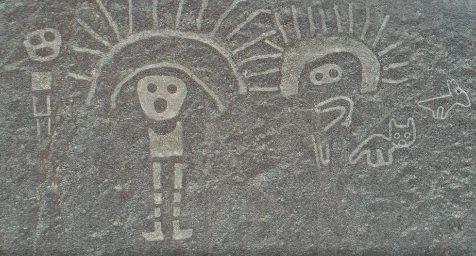 San Ignacio de Palpa. Figuras Paracas de dos personajes con tocado y animales. Este conjunto de geoglifos es llamado la familia real. Solo era conocido por unos cuantos lugareños. También fue limpiado. (Foto: Diego Ochoa)