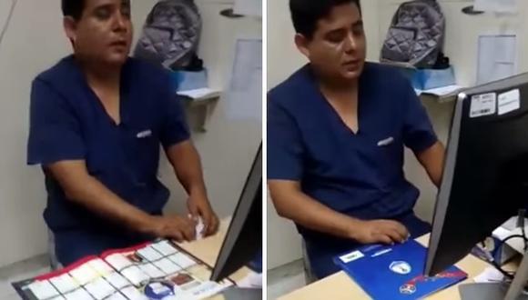 Denuncian que doctor en hospital de Essalud llenaba álbum Panini en horas de trabajo. (Captura: ATV)