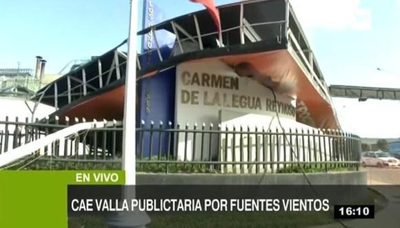 La empresa propietaria del panel publicitario, JMT Outdoors, ya comunicó al municipio que procederá a retirar la estructura con una grúa. (TV Perú)