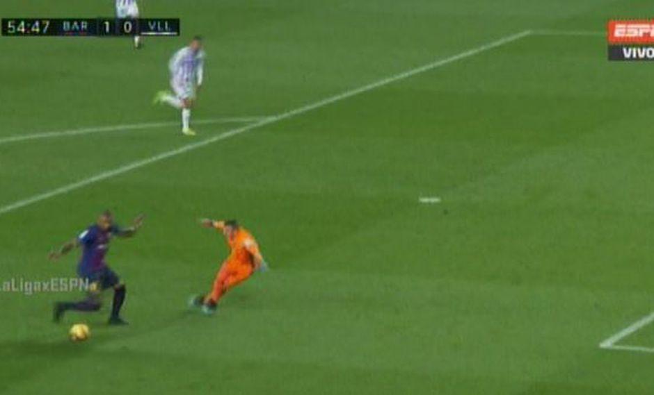 El flamante refuerzo del Barcelona desperdició una jugada clara de gol en el duelo entre Barcelona y Valladolid, por la jornada 24° de la Liga Santander. (Foto: captura de video)