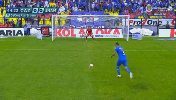 El artillero argentino anotó de penal para poner en ventaja a Cruz Azul sobre Pumas UNAM, en el duelo por la jornada 15 del campeonato. (Foto: captura de video)