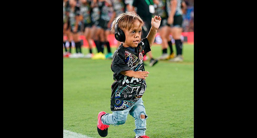 Quaden Bayles ha cumplido un sueño al acompañar al Indigenous All Stars de la Liga Nacional de Rugby en su último partido. (EFE)