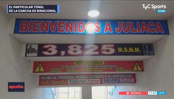 TyC se mostró sorprendido por las frases que se encuentran en el túnel del Estadio Guillermo Briceño Rosamedina de Juliaca   Foto: Captura