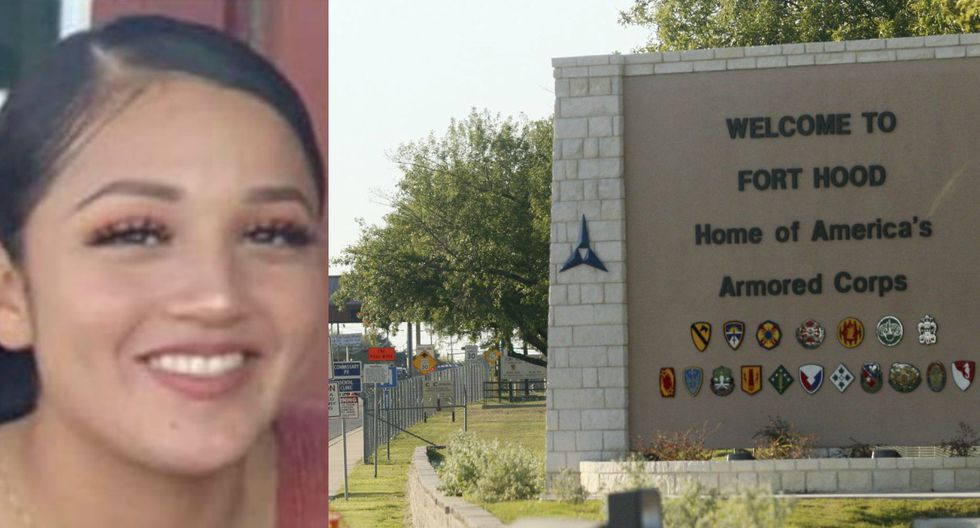 Imagen de la soldado Vanessa Guillén y la entrada de la base militar de Fort Hood en Texas. (Captura - Twitter/AP - Jack Plunkett).