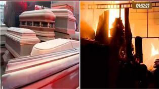San Juan de Lurigancho: incendio consume una fábrica de ataúdes por presunto cortocircuito