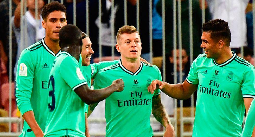 Con gol de Toni Kroos, Real Madrid vence momentáneamente por 1-0 a Valencia en la semifinal de la Supercopa de España.  (AFP)