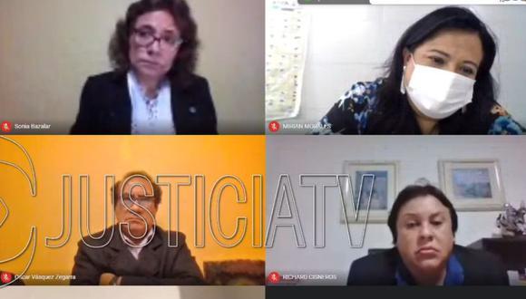 La jueza Sonia Balazar declaró infundado el pedido fiscal de prisión preventiva contra Mirian Morales, Oscar Vásquez y Richard Cisneros (Captura Justicia TV)