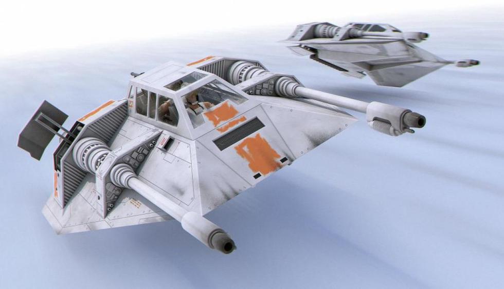 Snowspeeder: Estas naves viajan en la nieve en la batta de Hoth y son importantes para vencer a los temidos AT-AT. En su cabina va un piloto y otro con la vista hacia atrás que manejan un cañón.