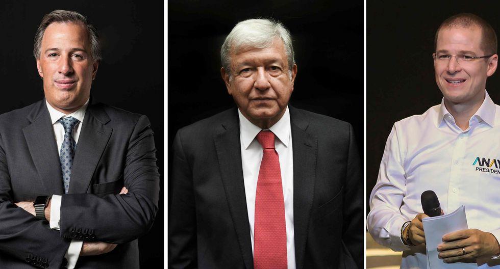 Los candidatos a la presidencia de México, de izquierda a derecha: Andrés Manuel López Obrador, Ricardo Anaya y José Antonio Meade. (AFP)