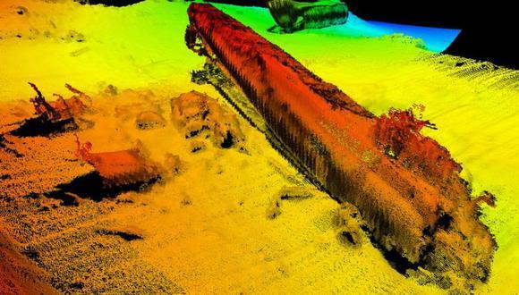 Las imágenes de sondas muestran que el U-864 está hundido a 150 metros en el fondo del mar. (Foto: Kysteverket / Norwegian Coastal Administration)