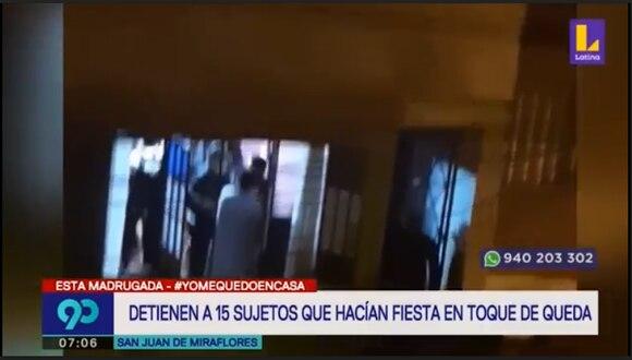 Vecinos de la zona dieron aviso a las autoridades sobre la fiesta que se realizaba en una vivienda. (Foto captura: Latina)