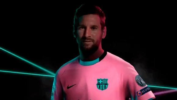 Lionel Messi luce la tercera equipación de Barcelona. (Foto: @FCBarcelona_es)
