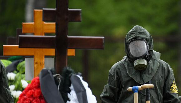 Los trabajadores de un cementerio con equipo de protección entierran a una víctima del coronavirus en en las afueras de Moscú el 15 de mayo de 2020. (Foto de Kirill KUDRYAVTSEV / AFP).