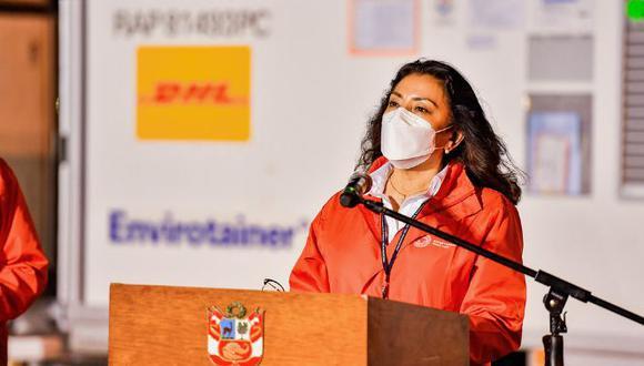 La presidenta de Consejo de Ministros, Violeta Bermúdez, fue quien encabezó esta presentación e indicó que no recibió la vacuna contra el COVID-19 y que no participó de los ensayos clínicos.  (Foto: Presidencia)