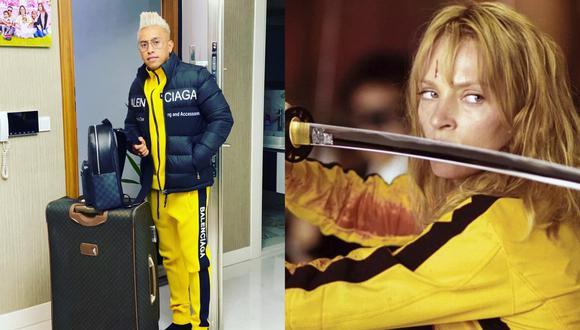 """A la izquierda, Christian Cueva y el 'look' que ha dado que hablar. A la derecha, Uma Thurman en la saga """"Kill Bill"""". Fotos: @cueva10oficial/ The Weinstein Company."""