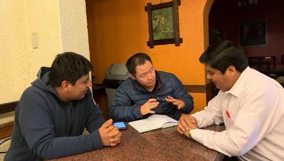 Kenji Fujimori se reunió el miércoles con los congresistas Clayton Galván y Marvin Palma (Foto: El Comercio)