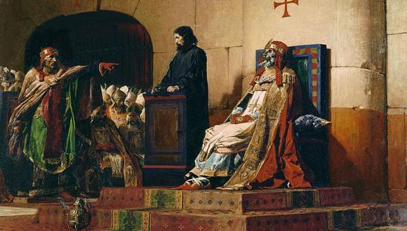 El pintor Jean-Paul Laurens inmortalizó el juicio en 1870, en su cuadro 'El papa Formoso y Esteban VI'. (Getty Images).
