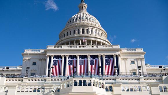 Preparativos para la toma de mando del presidente de Joe Biden en el Capitolio de Estados Unidos. (Foto: SAUL LOEB / AFP).