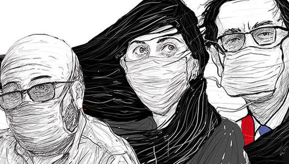 Al ministro Víctor Zamora, al presidente Martín Vizcarra y a María Antonieta Alva ('Toni'), ¿les queda tiempo y energía para pensar en su futuro político pospandemia? Sí y no. (Ilustración: Giovanni Tazza)