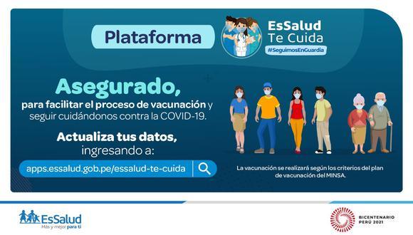 EsSalud Te Cuida es el nombre de la plataforma web que el Seguro Social habilitó para que los usuarios actualicen sus datos de cara a una futura vacunación contra el COVID-19 (Foto: EsSalud)