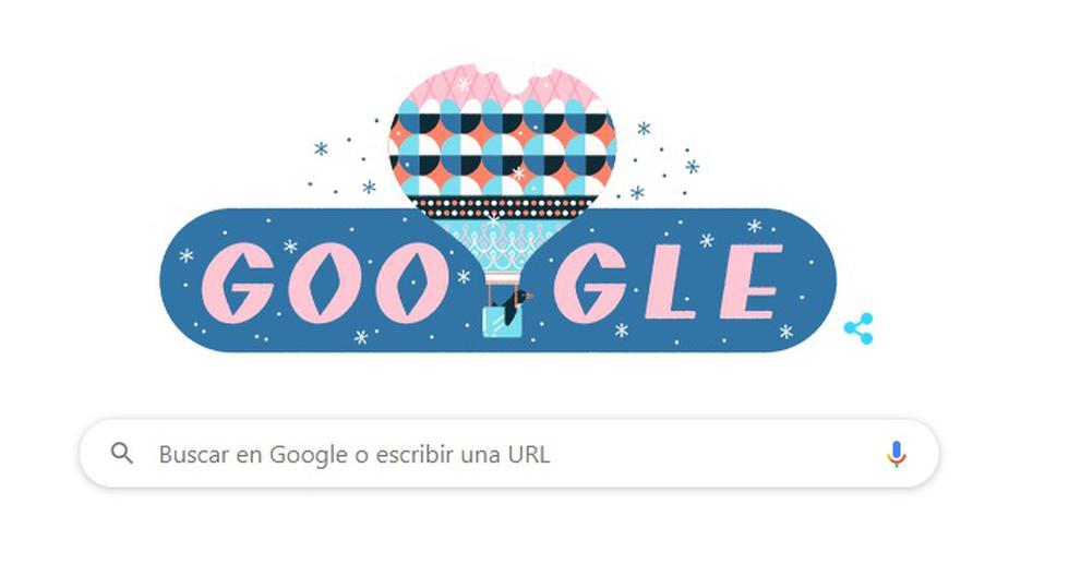 En el doodle se aprecia un pingüino viajando en globo aéreo mientras caen copos de nieve a su alrededor. (Captura/Google)