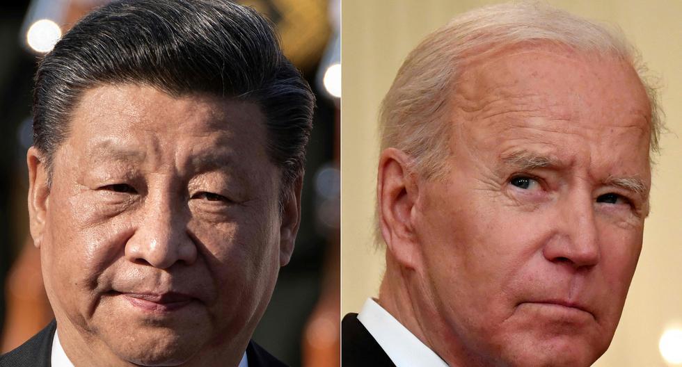 Los presidentes de China y Estados Unidos, Xi Jinping y Joe Biden. Ambos líderes mundiales están planificando sus estrategias por la hegemonía mundial.  (Photo by NICOLAS ASFOURI and Nicholas Kamm / AFP)