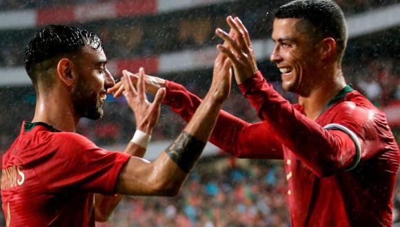 Bruno Fernandes y Cristiano Ronaldo comparten camerino en la selección de Portugal.