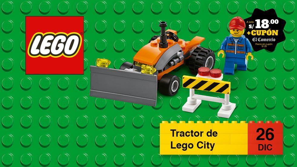 Construye un tractor, coloca la valla de seguridad y conduce el vehículo con su piloto en la ciudad de Lego.
