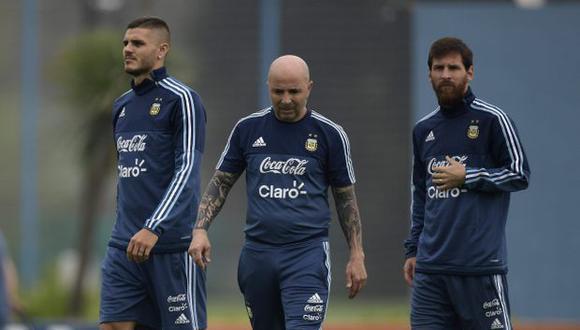 Mauro Icardi, Lionel Messi y Jorge Sampaoli.