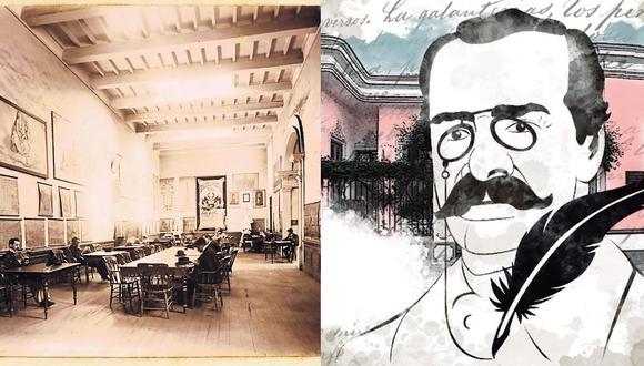 El 2 de noviembre de 1883 se inició la organización de la Biblioteca y Archivo Nacional. A la izquierda, el local por esas épocas. A la derecha, ilustración de Ricardo Palma para El Comercio. (Foto: Biblioteca Nacional del Perú)
