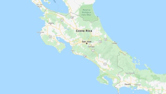 Sismo de magnitud 6 sacude costa del Pacífico de Costa Rica. (Foto: Google Maps).