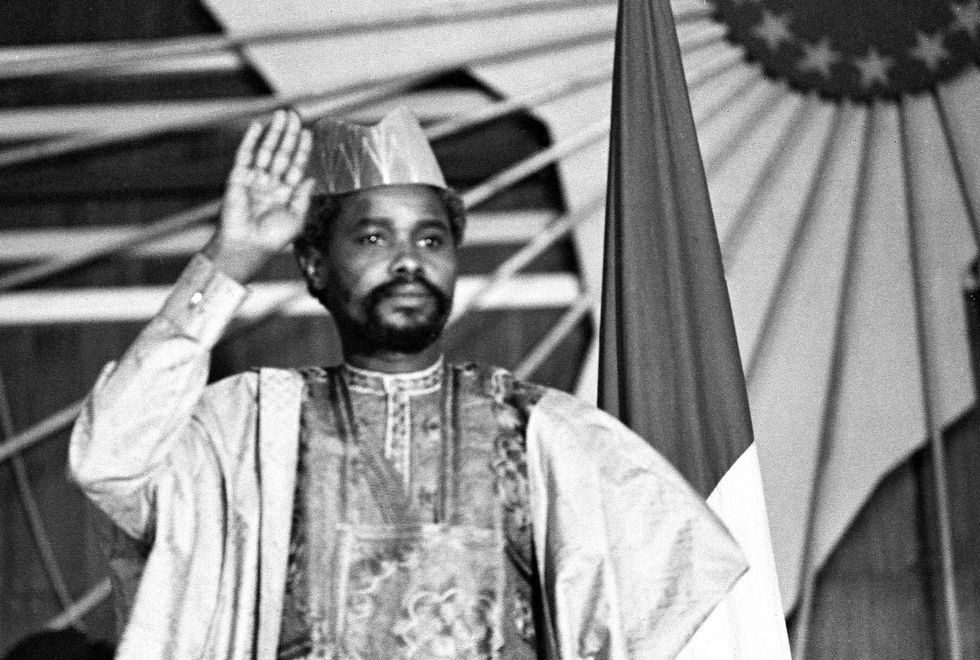 (FILES) A picture taken on August 16, 1983 shows Chad's president Hissen Habre during a press conference in N'Djamena. A special court in Senegal was due to deliver its verdict on May 30, 2016 in the war crimes trial of former Chadian dictator Hissene Habre, bringing a long-awaited reckoning to victims and their families. Habre, 73, was president of Chad from 1982-1990, during which time he is alleged to have committed crimes against humanity and torture. / AFP / JOEL ROBINE