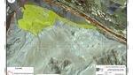 Foto satelital del Sitio arqueológico Caral- Chupacigarro. (2005)  Se puede apreciar que la ocupación original de la familia Solís Saavedra se incrementó a 35 hectáreas, afectando considerablemente al sitio arqueológico.