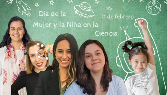 Alejandra Ruiz León (@mitocondria.cc), Deborah García Bello (@deborahciencia), Laura Taina González (@cienciaconlaura) y Carla Arce - Tord (@astrocarlaa) son científicas que han hecho de Instagram una tribuna para difundir sus conocimientos y que bien pueden servir de modelo para niñas de todo el mundo. (Fotocomposición: El Comercio)