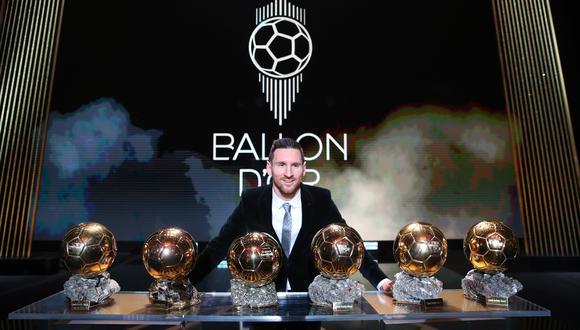Lionel Messi junto a todos sus Balones de Oro. (Foto: AFP)