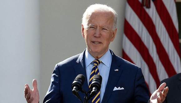 El presidente estadounidense Joe Biden, habla sobre el Plan de Rescate de Estados Unidos en el Rose Garden de la Casa Blanca en Washington, DC. (Foto: AFP / Olivier DOULIERY).