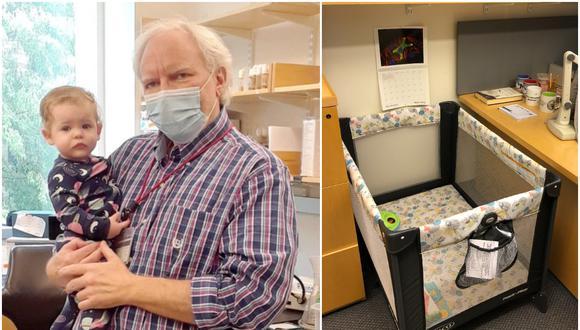 Profesor instala una cuna en su oficina para que estudiante pueda estar con su hija. (Foto: Troy Littleton)
