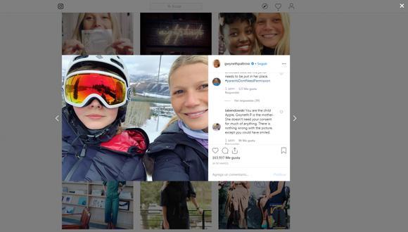 La hija de la actriz de Hollywood reclamó a su madre por la publicación de una fotografía suya en Instagram. (Foto: Instagra /  @GwynethPaltrow)
