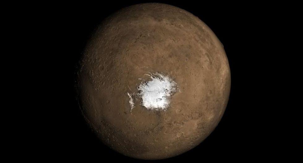 Marte tiene dos capas gigantes de hielo en sus polos, ambas con un par de kilómetros de grosor. (Foto: NASA)