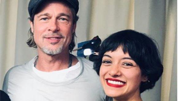 El actor estadounidense Brad Pitt conversó con la actriz peruana Jely Reátegui en México (Foto: AFP/@jelyreategui)